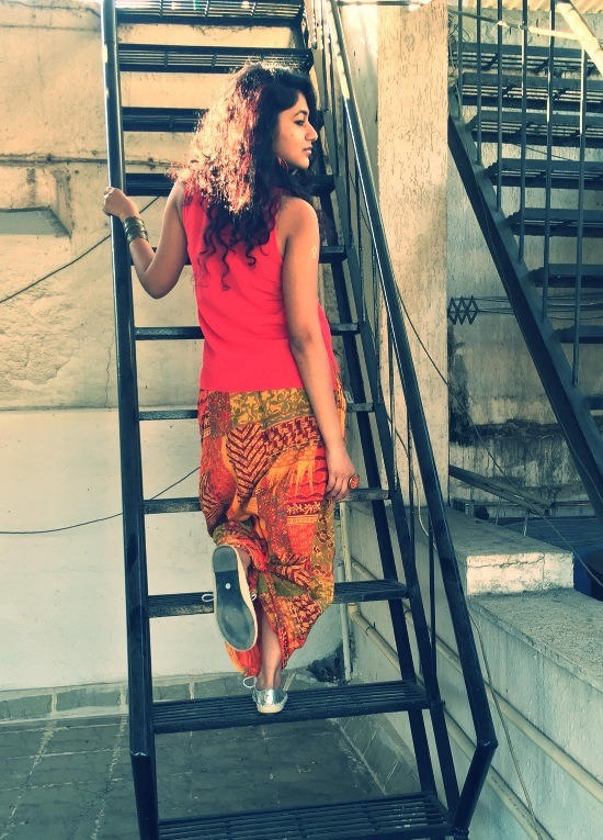 Flare of a maxi-skirt