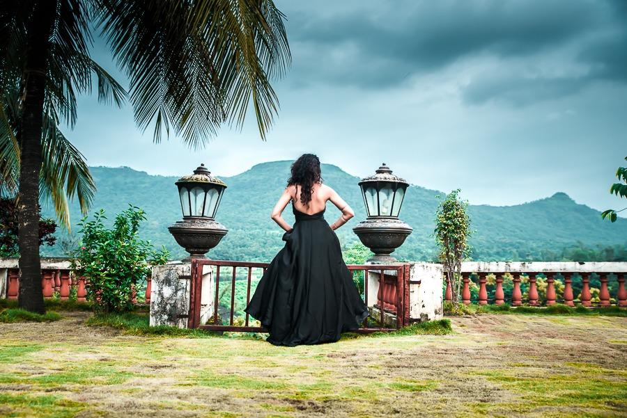 Satyabhama Black ballroom gown pinkpeppercorn