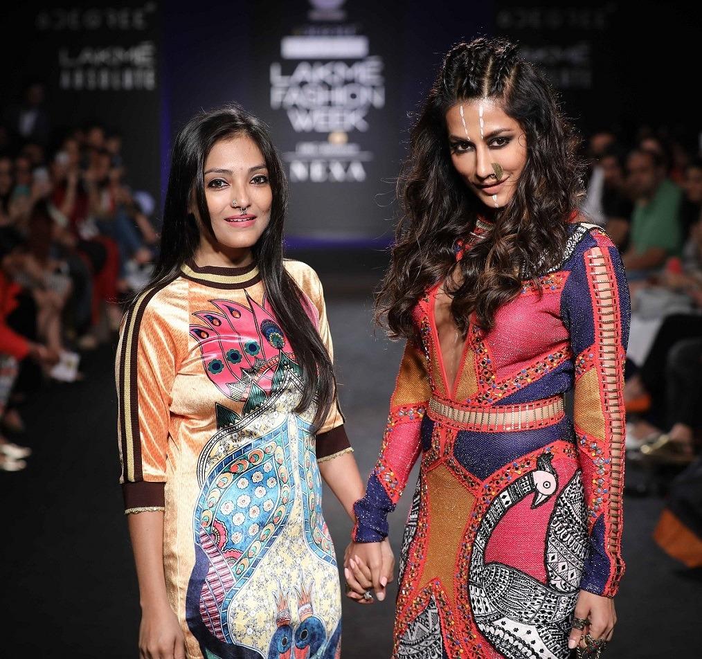Designer Neha Agarwal with Chitrangada Singh at Lakme Fashion Week WF 17