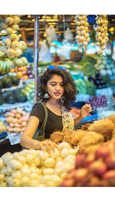 saree retro vegetable market