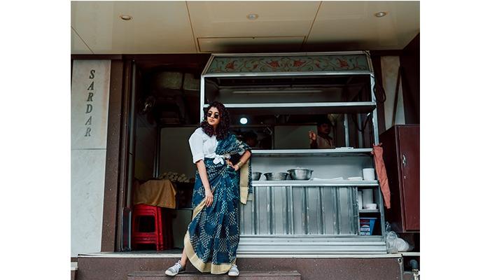 SArdar Pav bhaji streetstyle modern saree drape