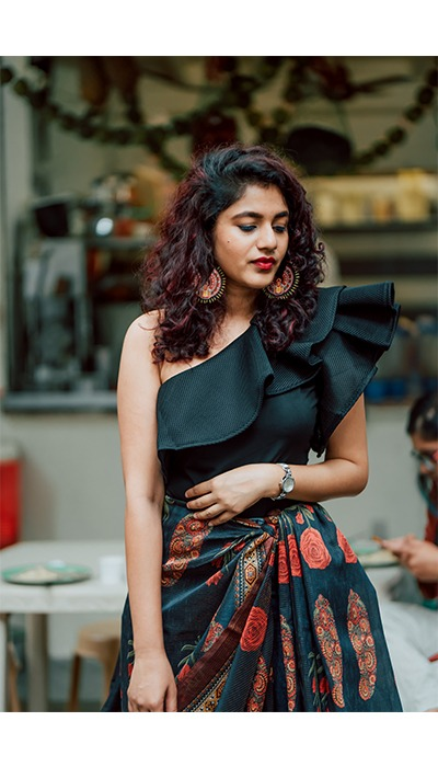 saree as skirt with statement earrings craftsvilla razia kunj